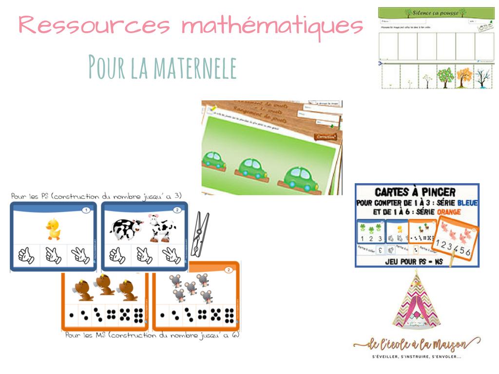 Ressources mathématique à imprimer pour la maternelle