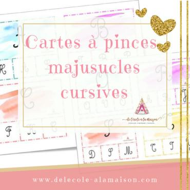 Cartes à pinces – lettres cursives majuscules